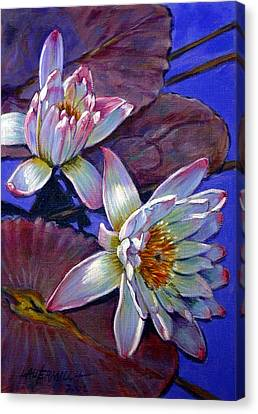 Two Pink Water Lilies Canvas Print by John Lautermilch