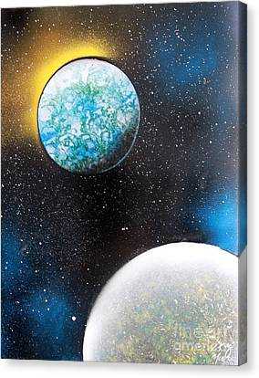 Canvas Print featuring the painting Two Planets by Greg Moores