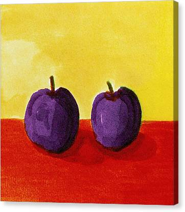 Two Plums Canvas Print by Michelle Calkins