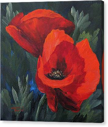 Two Poppies  Canvas Print by Torrie Smiley