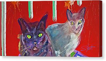 Two Posh Cats Canvas Print by Charles Stuart