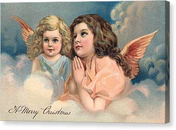 Two Praying Christmas Angels Canvas Print