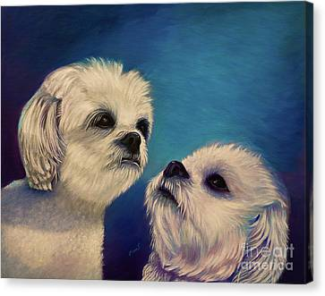 Two Puppies Canvas Print by Zina Stromberg
