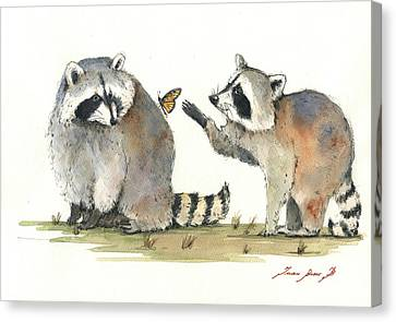 Two Raccoons Canvas Print