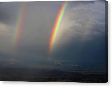 Canvas Print featuring the photograph Two Rainbows by Ron Chilston