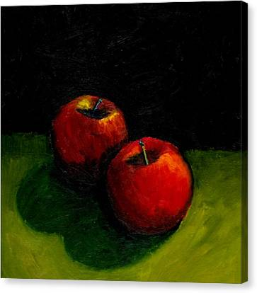 Two Red Apples Still Life Canvas Print by Michelle Calkins