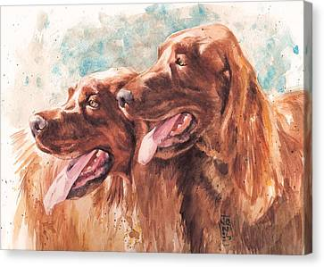 Watercolor Pet Portraits Canvas Print - Two Redheads by Debra Jones
