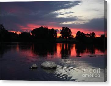 Two Rocks Sunset In Prosser Canvas Print