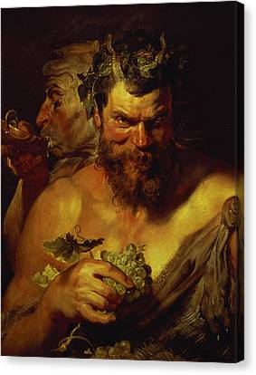 Two Satyrs Canvas Print by Peter Paul Rubens