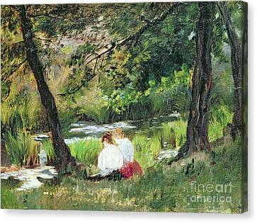 Chat Canvas Print - Two Seated Women by Mary Stevenson Cassatt