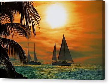 Sailboat Canvas Print - Two Ships Passing In The Night by Bill Cannon