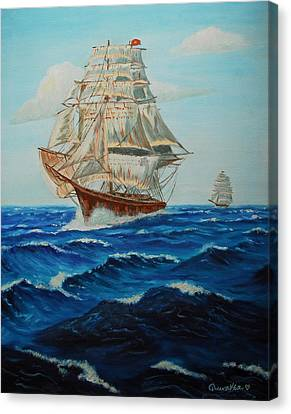 Two Ships Sailing Canvas Print by Quwatha Valentine