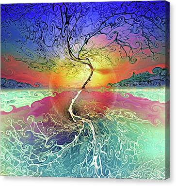 Reflecting Water Canvas Print - Two Sides To This Tree by Tara Turner