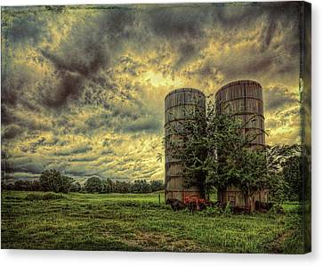 Canvas Print featuring the photograph Two Silos by Lewis Mann