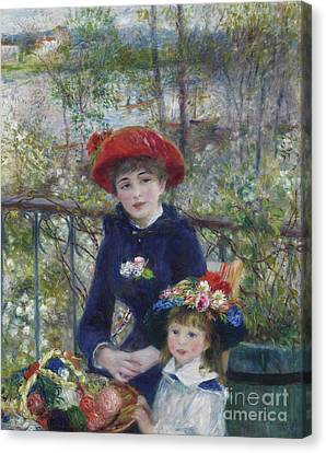 Two Sisters Or On The Terrace Canvas Print by Pierre Auguste Renoir