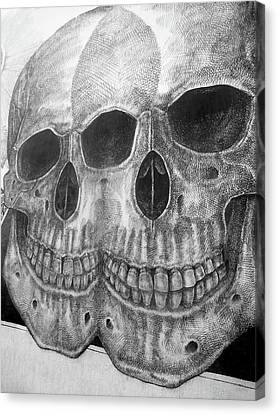 Canvas Print featuring the photograph Two Skulls ... by Juergen Weiss