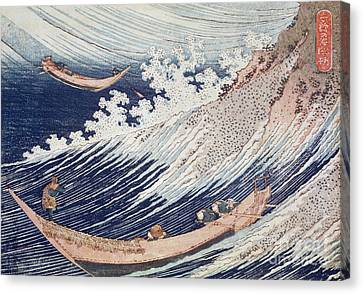 Two Waves Canvas Print - Two Small Fishing Boats On The Sea by Hokusai