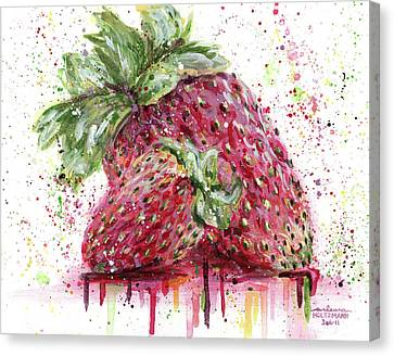 Two Strawberries Canvas Print by Arleana Holtzmann