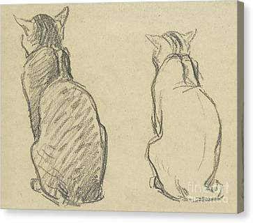Cat Drawings Canvas Print - Two Studies Of A Cat by Theophile Alexandre Steinlen
