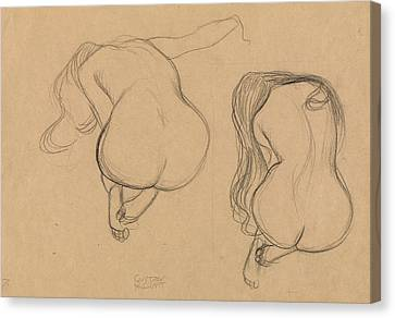 Two Studies Of A Seated Nude With Long Hair Canvas Print by Gustav Klimt