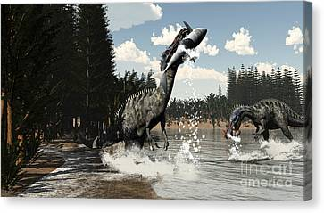 Food In Mouth Canvas Print - Two Suchomimus Dinosaurs Catch A Fish by Elena Duvernay