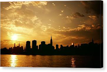 Two Suns - The New York City Skyline In Silhouette At Sunset Canvas Print by Vivienne Gucwa