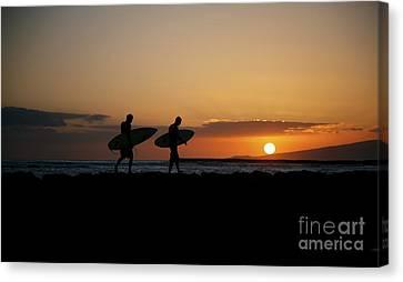 Hawaiian Rock Art Canvas Print - Two Sunset Surfers by Brandon Tabiolo - Printscapes
