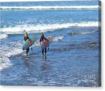 Two Surf Friends Canvas Print by Waterdancer