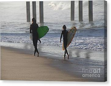Canvas Print - Two Surfers In Step Huntington Beach by Linda Queally