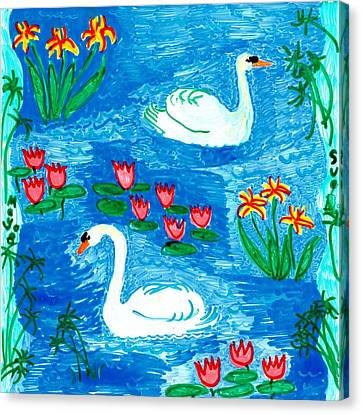 Two Swans Canvas Print by Sushila Burgess