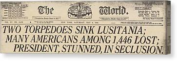 Two Torpedoes Sink Lusitania Many Canvas Print by Everett