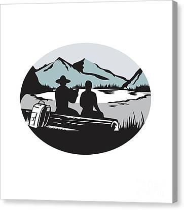 Two Trampers Sitting On Log Lake Mountain Oval Woodcut Canvas Print by Aloysius Patrimonio