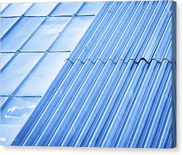 Two Types Of Metal Roofs Canvas Print by Jozef Jankola