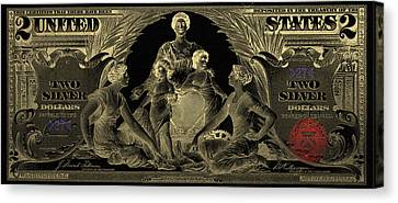 Canvas Print featuring the photograph Two U.s. Dollar Bill - 1896 Educational Series In Gold On Black  by Serge Averbukh