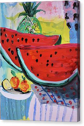 Two Watermelons And Pineapple Canvas Print by Amara Dacer