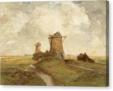 Two Windmills Between Abcoude And Ouderkerk On The Amstel Canvas Print by Paul Gabriel