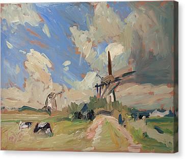 Two Windmills Canvas Print by Nop Briex