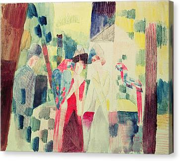 Two Women And A Man With Parrots Canvas Print by August Macke