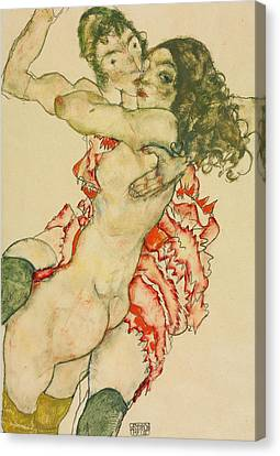 Two Women Embracing  Canvas Print