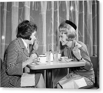 Two Women Gossiping At Lunch, C.1960s Canvas Print
