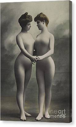 Two Women In Bodystockings Canvas Print by French School