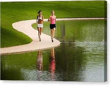 Jogging Canvas Print - Two Women Jogging by Utah Images