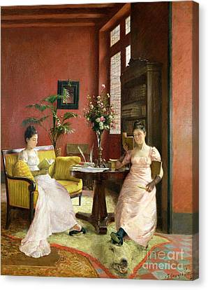 Two Women Reading In An Interior  Canvas Print by Jean Georges Ferry