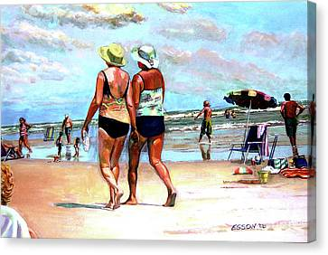 Two Women Walking On The Beach Canvas Print by Stan Esson