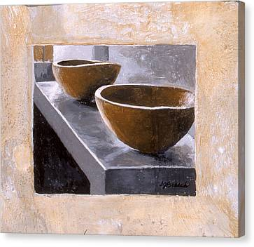 Two Wooden Bowls Canvas Print by Susan  Brasch