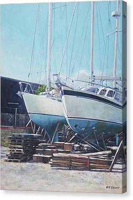 Canvas Print featuring the painting Two Yachts Receiving Maintenance In A Yard by Martin Davey