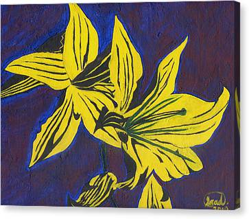 Canvas Print featuring the painting Two Yellow Lilies by Saad Hasnain