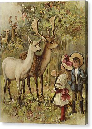 Two Young Children Feeding The Deer In A Park Canvas Print