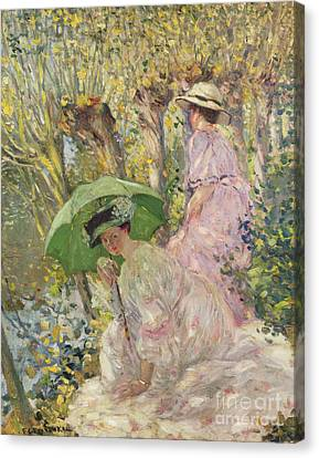 Two Young Girls In A Garden Canvas Print by Frederick Carl Frieseke