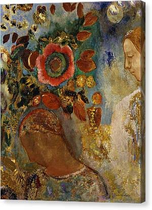 Two Young Girls With Flowers Canvas Print